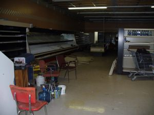 Beginning to clean up an old grocery store