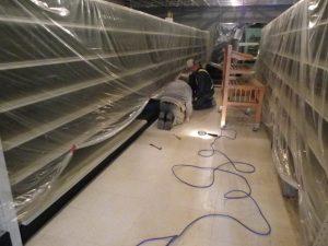 shelves being put back together
