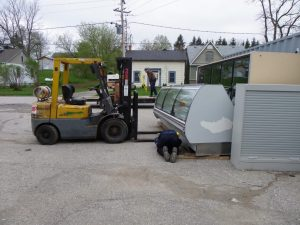 first load of new refrigerators from Quebec
