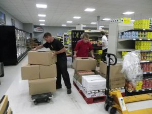 first loads of groceries arrive to fill the shelves at the new Paisley freshmart