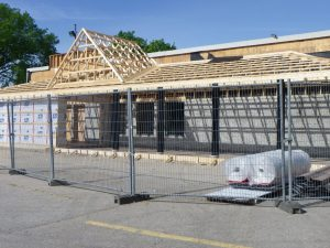 Progress on new porch and entry at Paisley freshmart